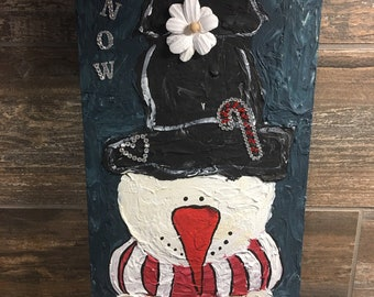 Snow woman mixed media painting on rough board