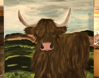 Scottish West Highland Cow painting on canvas.  18x24 inches.  Hand drawn, hand painted