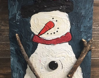 Snowman wall hanging, hand painted mixed media