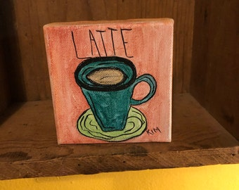 Watercolor coffee art painting on fat canvas.  Shelf sitter