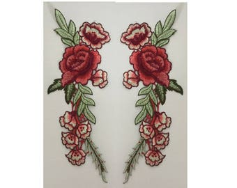 large roses patch,set of patches,flower patch,iron on patch,embroidered patch,patch for jacket,applique