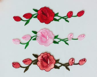 long flower patch/patch for vans/embroidered patch/iron on patch/gorgeous/high-quality/vans rose