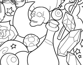 Fantasy Theme Adult Coloring Page, Magic Coloring Page, Halloween Themed Coloring Page, Halloween Coloring, Fantasy, Pattern