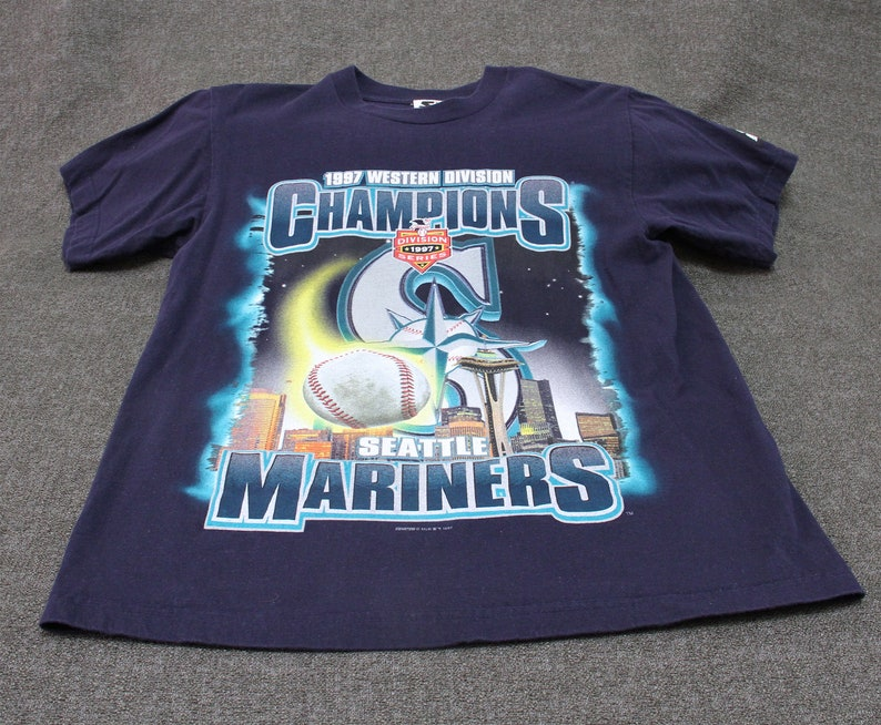 NOS 1997 Seattle Mariners A L  West Division Champs T-Shirt Never Worn Boys  XL 18-20 Women's SM by Starter