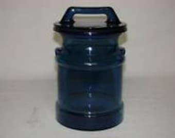 Vintage L.E. Smith Cobalt Blue Glass Milk Can Canister Storage Jar