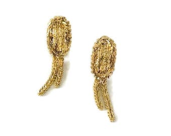 Vintage Gold Tone French Clip Back Rope Dangle Drop Earrings