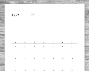 2018 2019 Printable Minimalist Monthly Calendar, Desk Calendar, Wall Calendar, Calendar Template, Calendar Download, A4, 8.5 x 11