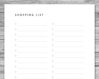 Printable Minimalist Weekly Meal Planner Grocery List Etsy