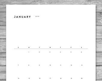 2017 2018 Printable Minimalist Monthly Calendar, Desk Calendar, Wall Calendar, Calendar Template, Calendar Download, A4, 8.5 x 11