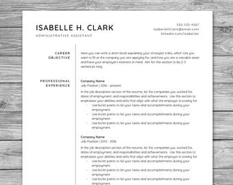 Professional Minimalist Resume Template, CV Template, Printable Resume, Instant Download, Cover Letter, Reference Sheet, 8.5 x 11, A4