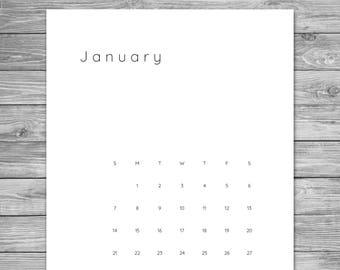 2018 Printable Minimalist Monthly Calendar, Desk Calendar, Wall Calendar, Calendar Template, Calendar Download,  A4, 8.5 x 11