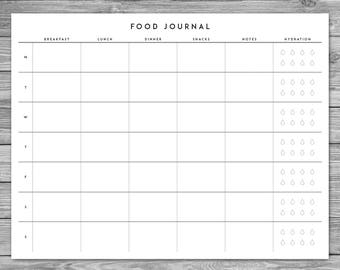 picture regarding Weekly Food Diary Printable known as Foods magazine Etsy