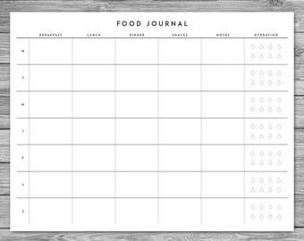 photograph regarding Printable Food Diary named Meals magazine Etsy