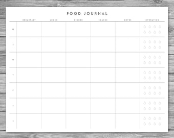 printable minimalist food journal weekly food journal with hydration checklist template download a4 85 x 11