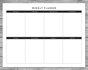 printable landscape minimalist weekly planner weekly schedule weekly agenda desk planner planner download to do list a4 85 x 11