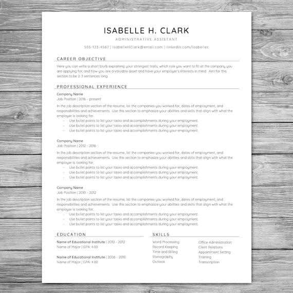 professional minimalist resume template cv template etsy