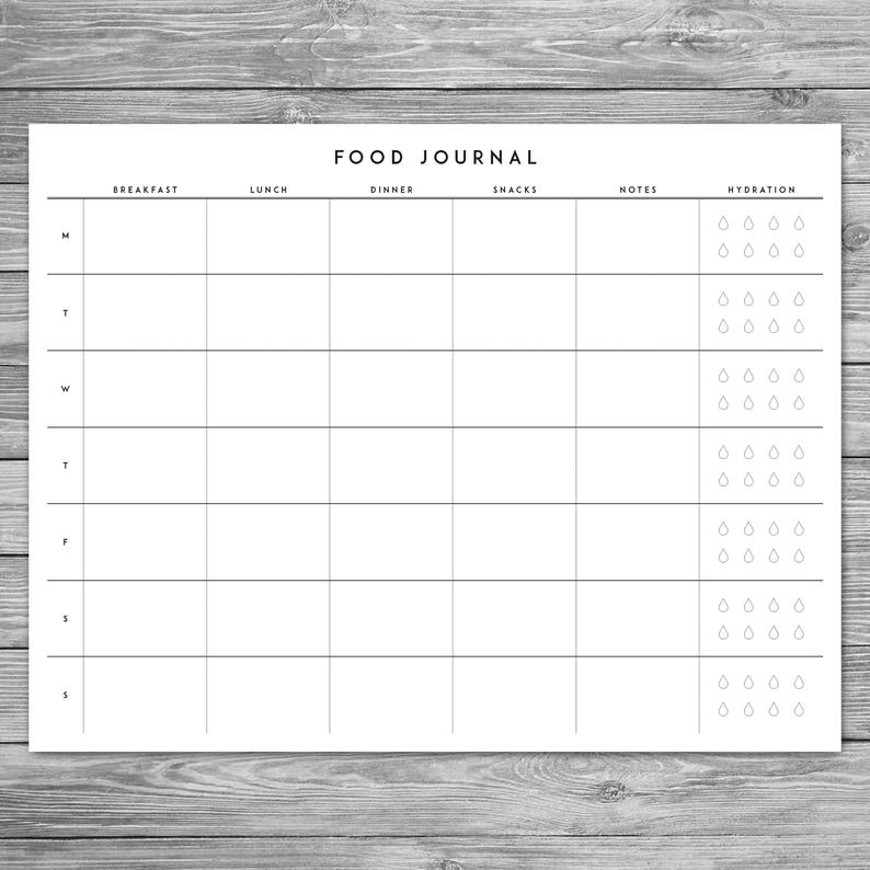 photo about Printable Weekly Food Journal named Printable Minimalist Foods Magazine, Weekly Food items Magazine with Hydration Record, Template, Obtain, A4, 8.5 x 11