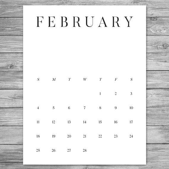2018 2019 Printable Minimalist Monthly Calendar Desk Etsy