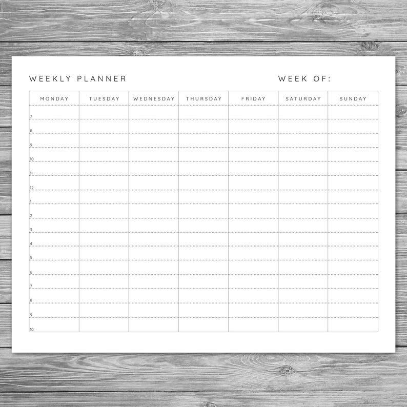 Swell Printable Landscape Minimalist Weekly Planner Weekly Schedule Weekly Agenda Desk Planner Planner Download To Do List A4 8 5 X 11 Home Remodeling Inspirations Gresiscottssportslandcom
