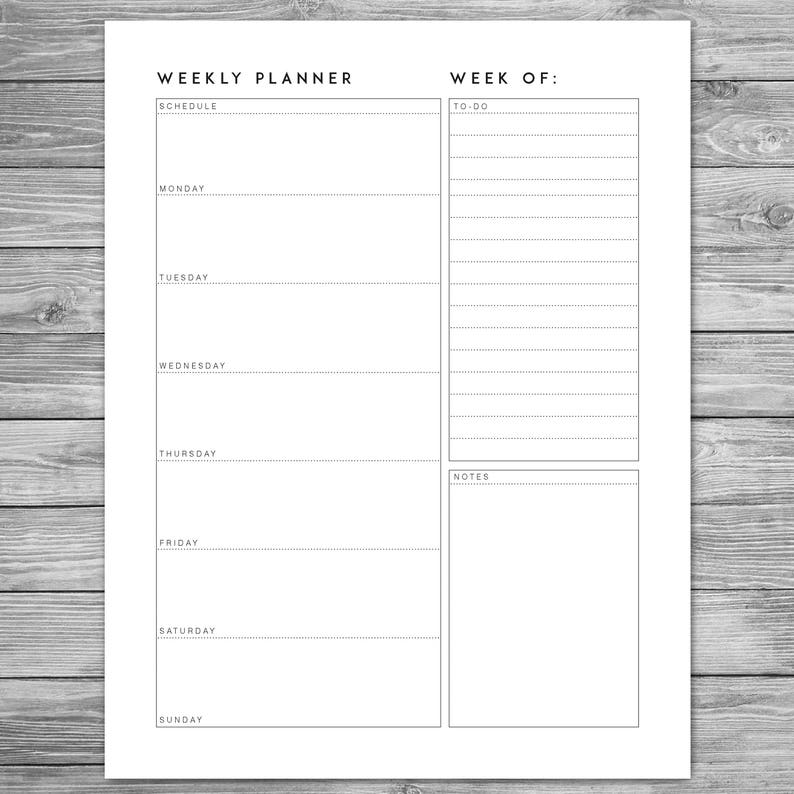 image about Weekly Agenda Printable named Printable Minimalist Weekly Planner, Weekly Timetable, Weekly Timetable, Planner Template, Planner Down load, Towards Do Record, A4, 8.5 x 11