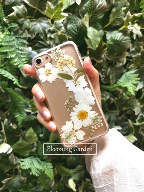 iPhone12 pro max se 11 Xr Xs MaxSamsungHuaweiOPPOVIVO Hand Pressed Flower case Protective Phone Case Dried daisy flower Gift for her