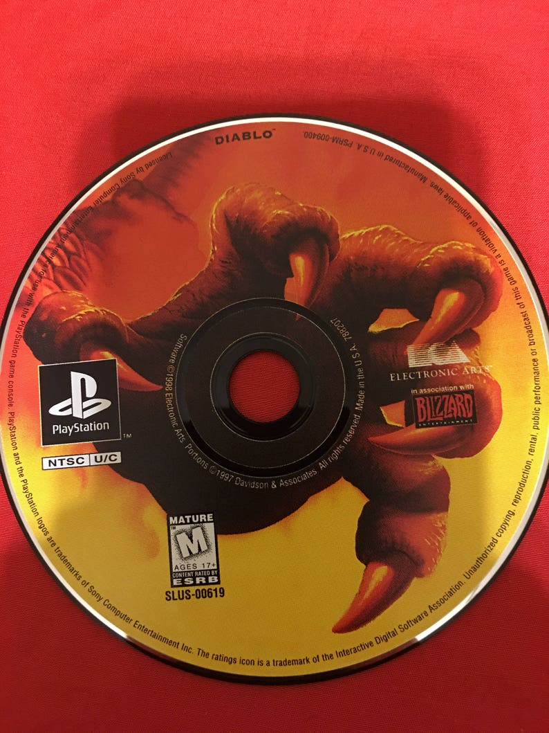 Diablo PlayStation 1997 With Original Manual Game Black Label Edition Complete Tested PS1 Vintage Rare RPG Video