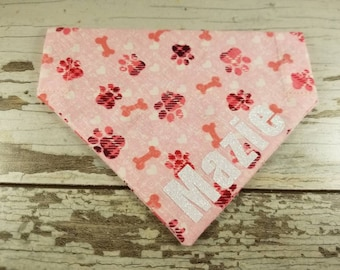 Personalized Dog Bandana Pink with paw print/bones, over the collar, girl dog, custom bandana, dog scarf