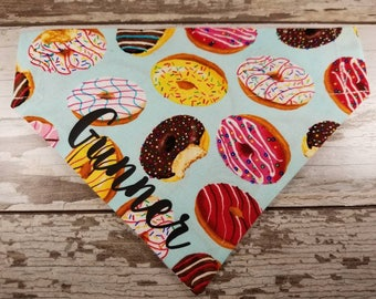 Personalized Dog Bandana, Doughnut, Donut, over the collar, slide on, cat bandana