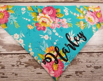 Personalized Dog Bandana Turquiose Floral, over the collar, pink, girl dog, custom bandana, dog scarf, cat bandana