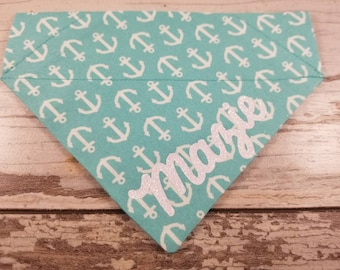 Personalized Teal Anchor Dog Bandana, Cat Bandana, teal with white anchors, over the collar, custom bandana, dog scarf