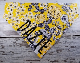 Personalized Dog Bandana Yellow Floral, over the collar, girl  dog, custom bandana, dog scarf, cat bandana