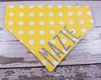 Personalized Yellow Polka Dotted Dog Bandana, Cat Bandana, over the collar, custom bandana, dog scarf, neckerchief