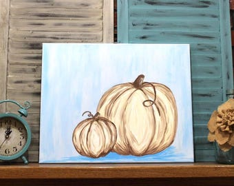 Rustic Fall Decor - White Pumpkins on Blue - Acrylic Painting on Canvas