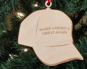 donald trump make america great again hat wooden christmas tree ornament its good to give year round just that much longer to enjoy