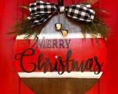 Merry Christmas Round Wood Hand-Painted Door Sign 16-inch