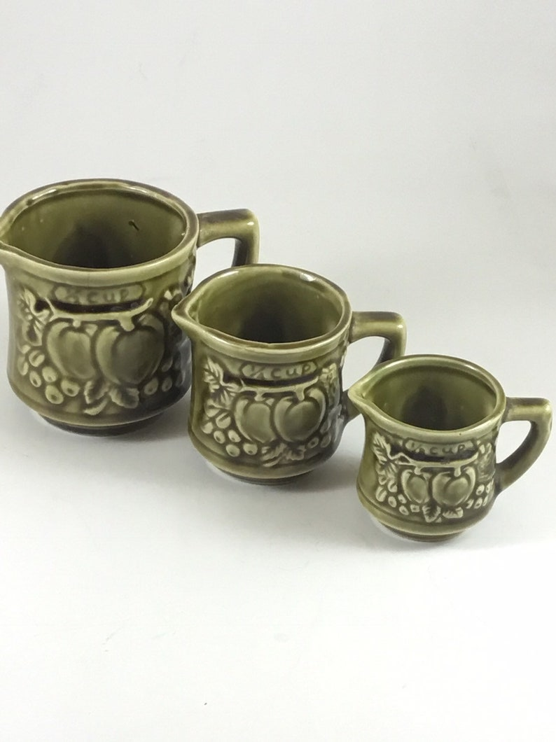 Vintage Ceramic Stacking Measuring Cups Japan glossy olive green