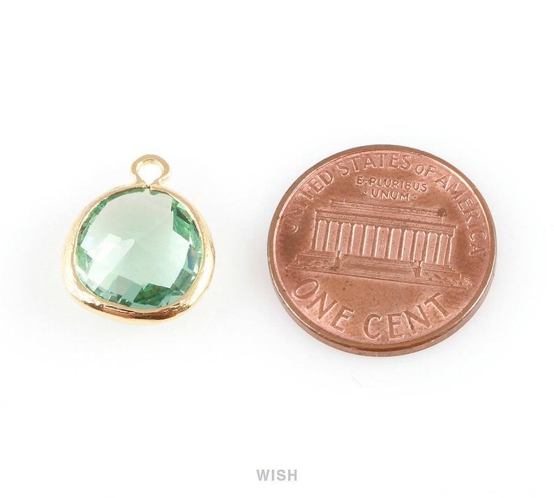 Medium Framed Drop Glass Gem  Birthstone  July  Ruby  13mm x 16mm  GRBG-004-P Ruby Faceted Glass Charm in Gold