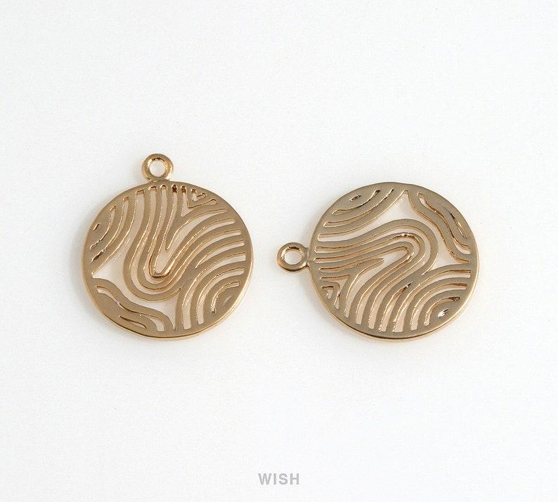 Wavy Pattern in Disc in Matte Rhodium Sashiko Pattern in Coin Charm  Wavy Pattern  Wavy Pattern Disc  Coin  15mm x 17mm  MMRH-649-P