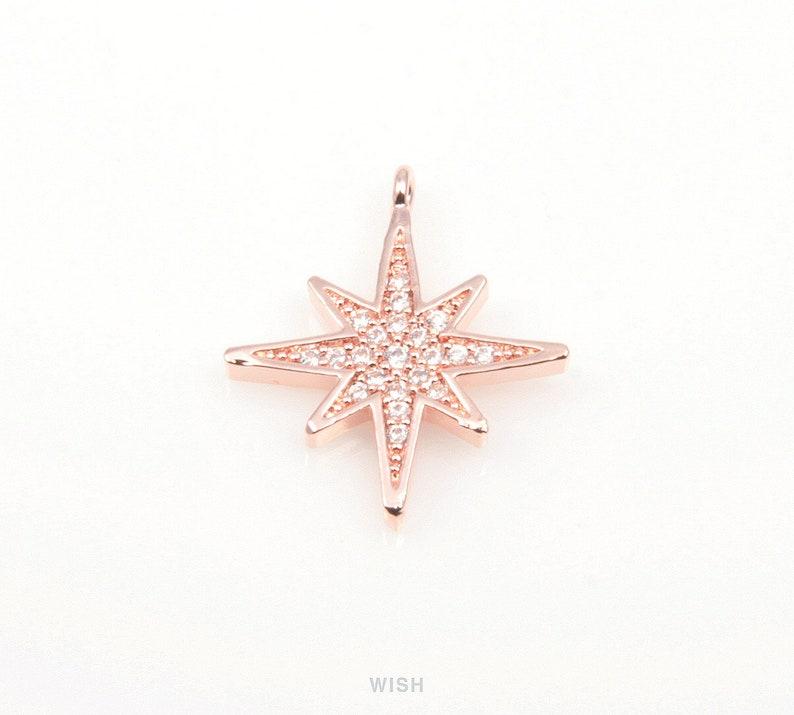 1 piece The North Star Cubic Zirconia Pendants in Gold the Lodestar Charms  16k Gold  Cubic Zirconia  15mm x 18mm  CG-043-P