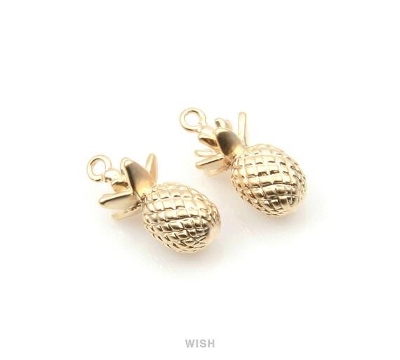 BULK 50 Pineapple charms antique gold tone GC130