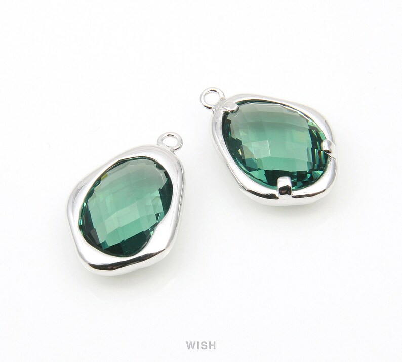 Framed Pendant  Birthstone  Teardrop  Verdelite  12mm x 18mm  GGTRH-085-P Green Tourmaline Faceted Glass Charms in Rhodium