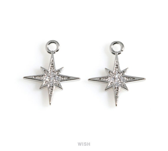 925 Sterling Silver Northstar Charm Silver Northern Star Charm Pendant 13 mm 1 pc