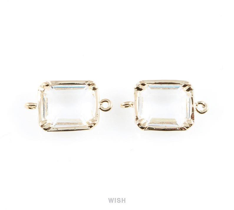 Clear Rectangle Glass Connectors in Rhodium Medium Framed Glass Gem  Wedding  Gems  Crystal  9mm x 16mm  GCLRH-019-P