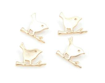 4pcs Small Bird on Twig Pendants in Matte Gold, Bird Charms / Matte Gold / Bird / Pendants / 12mm x 9mm / MMG-112-P