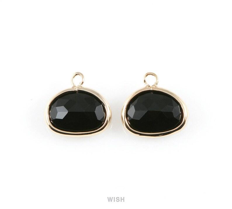 Glass Framed Pendant  Bridesmaid  Gems  Black Onyx  11.5mm x 9mm  GJTG-039-P Jet Oval Glass Charm in Gold