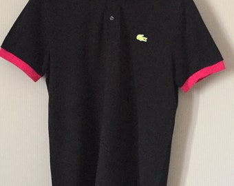 8af2f2e3 Lacoste polo/black and neon crocodile/gift for him/gift for dad/xmas  gift/birthday gift