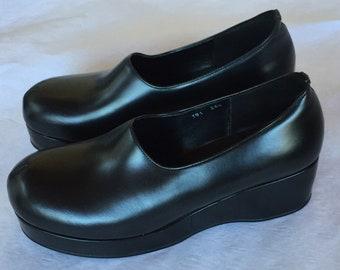3be86ec2f3 Chaussures en cuir noir Yohji Yamamoto Y / chaussures/chaussures compensées  / taille 38 /