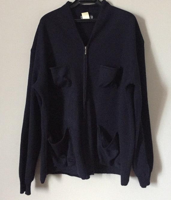 Zipped Yohji Yamamoto cardigan/men's cardigan/men'