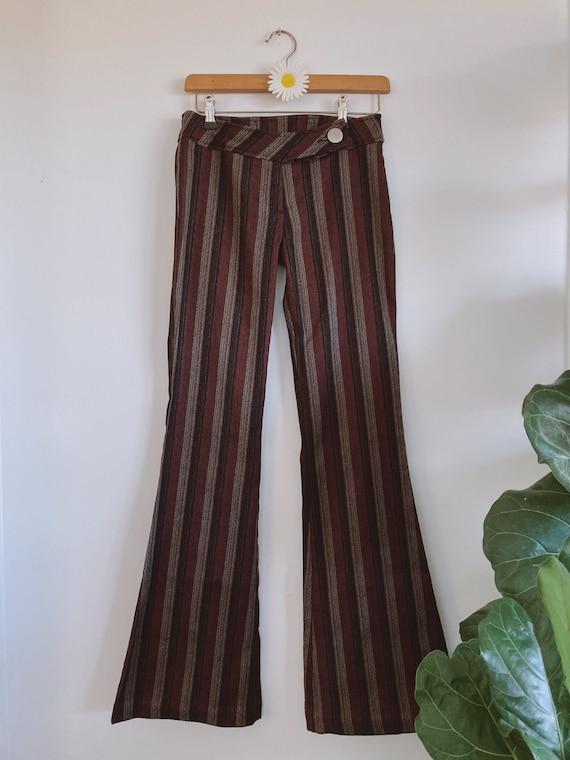Vintage Stripe Flares | 70s Style | Mid Rise | Bel