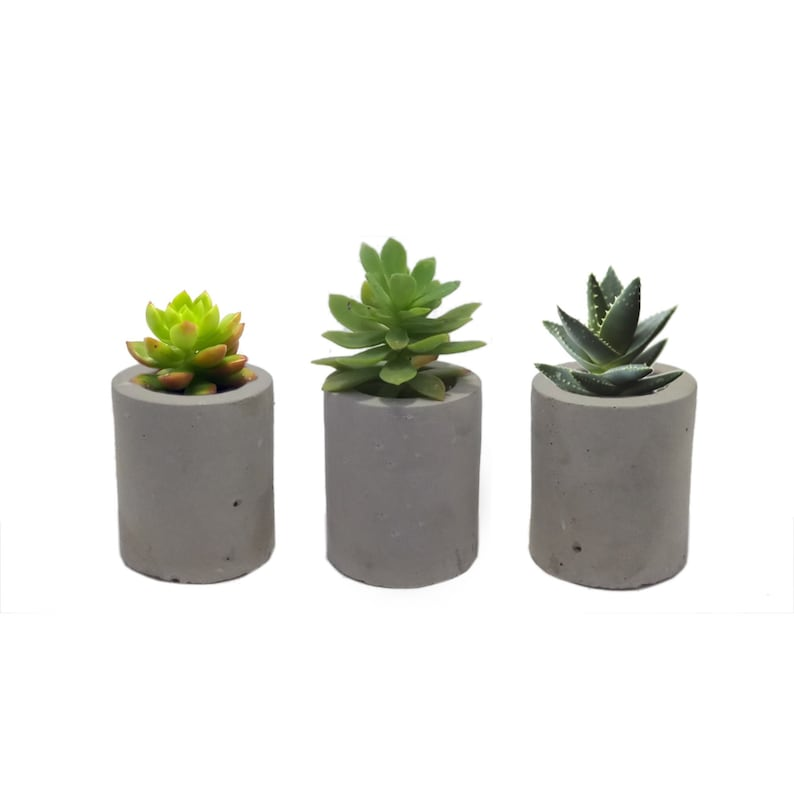 set X3: mini concrete planter air plant holder toothpick image 0